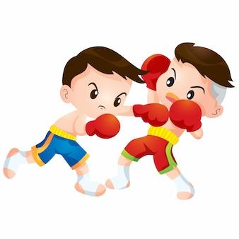 I bambini di boxe tailandese svegli che combattono le azioni colpiscono il colpo e schivano