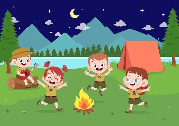 I bambini esplorano all'illustrazione del campo