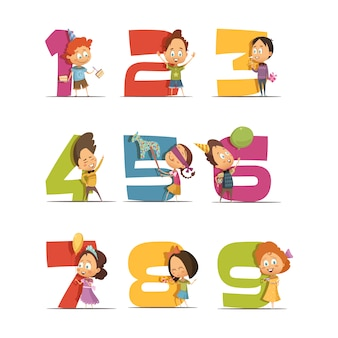 I bambini fanno festa con icone retrò con cifre da uno a nove