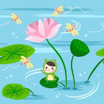 I bambini felici del modello senza cuciture nel vestito della rana si siedono sulla foglia del loto.