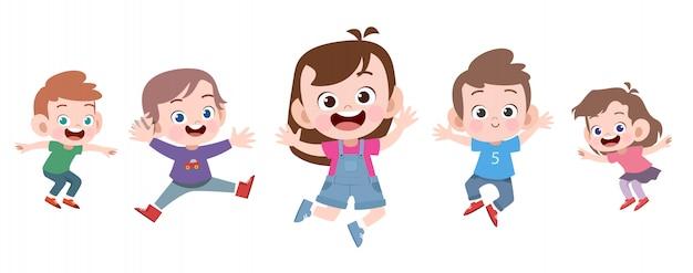 I bambini felici della scuola saltano l'illustrazione di vettore isolata
