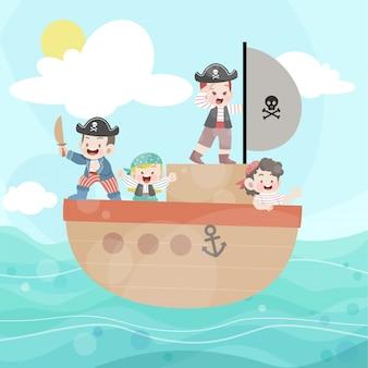 I bambini felici giocano pirata nell'oceano
