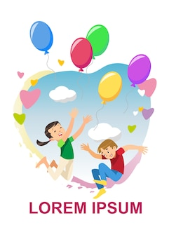 I bambini felici si rallegra il concetto di vettore del fumetto di festa