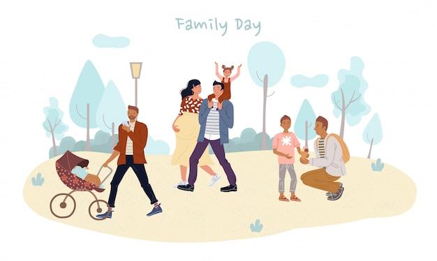 I bambini genitori trascorrono la giornata in famiglia all'aperto nel parco