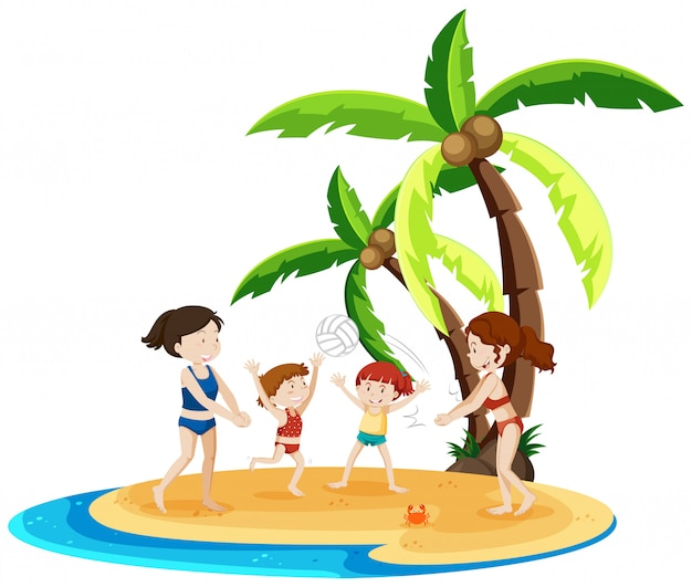 I bambini giocano a pallavolo sull'isola
