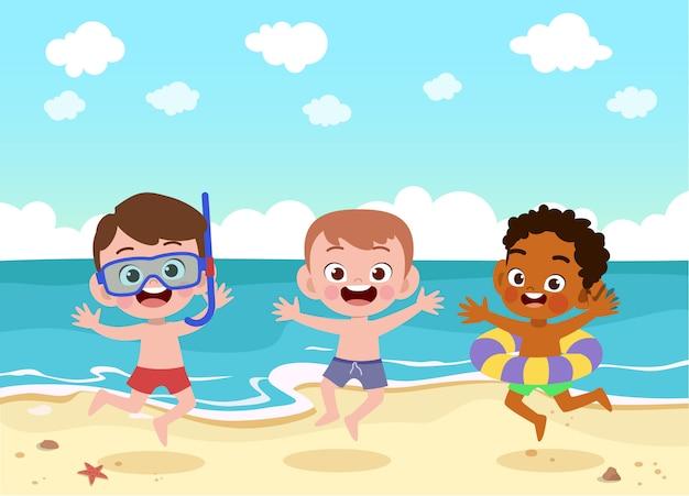 I bambini giocano all'illustrazione della spiaggia