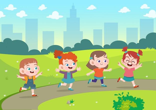 I bambini giocano insieme nell'illustrazione di vettore del giardino