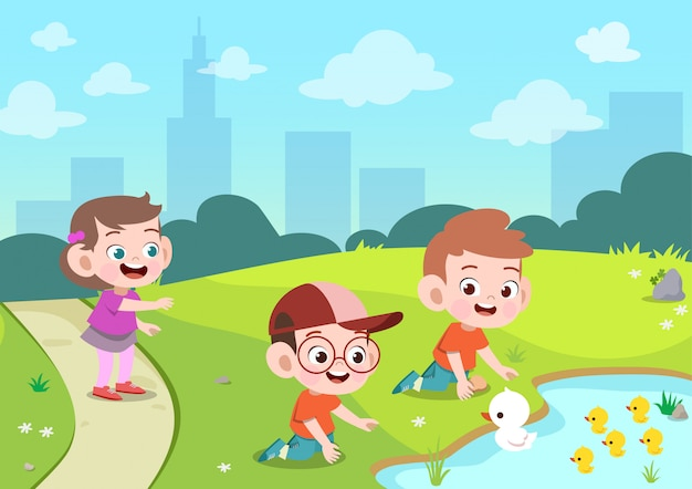 I bambini giocano le anatre nell'illustrazione di vettore del giardino