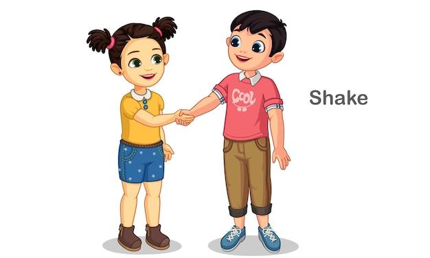 I bambini piccoli si stringono la mano illustrazione