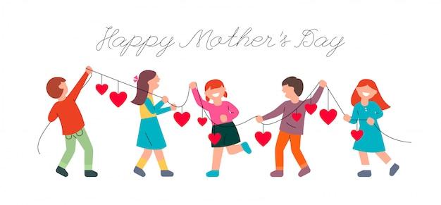 I bambini si congratulano con le madri per la festa della mamma. bambini e una ghirlanda con cuori.