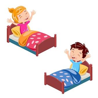 I bambini si svegliano nel vettore del mattino