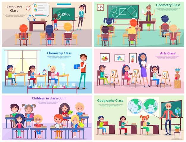I bambini studiano il linguaggio, disegnano geometrie, fanno esperimenti in chimica, dipingono in classe artistica ed esplorano il mondo con illustrazioni vettoriali di insegnante di geografia.