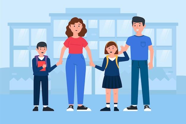 I bambini tornano a scuola con i genitori