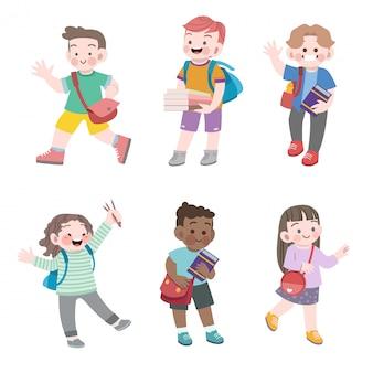 I bambini vanno al set di illustrazione vettoriale scuola