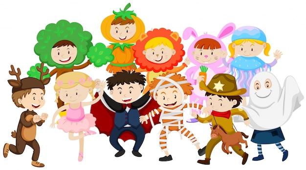 I bambini vestirsi in costumi diversi