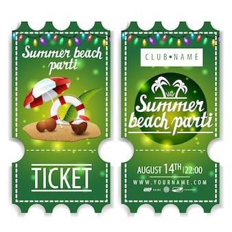 I biglietti per la festa in spiaggia d'estate