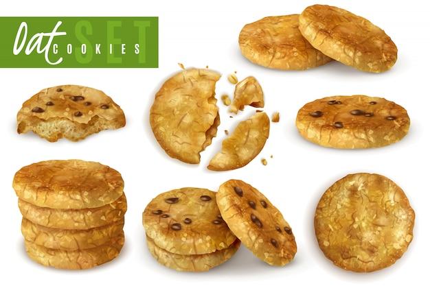 I biscotti dell'avena con l'insieme realistico delle briciole di cioccolato di intero e si sbriciolano hanno cucinato l'illustrazione isolata pasticceria