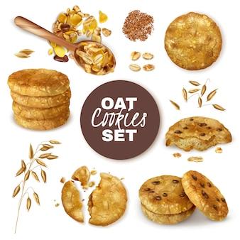 I biscotti di farina d'avena interi e rotti decorati con le orecchie dell'insieme realistico dell'avena hanno isolato l'illustrazione
