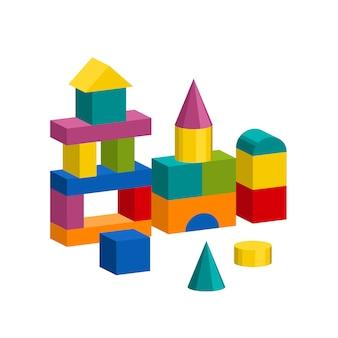 I blocchi variopinti giocano la torre della costruzione, il castello, casa