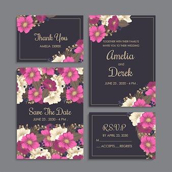 I bordi del fiore di nozze hanno messo i fiori di rosa caldo