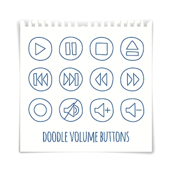 I bottoni del volume di scarabocchio mettono, effetto disegnato penna, illustrazione di vettore.