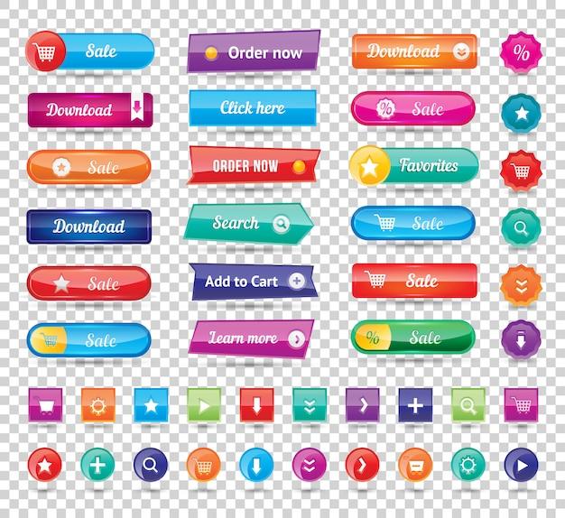I bottoni rotondi variopinti lunghi del sito web progettano l'illustrazione di vettore. pulsanti lucidi, pulsanti del sito web