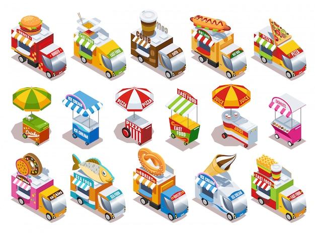 I camion dell'alimento e i carretti della via che vendono le bevande degli alimenti a rapida preparazione e le icone isometriche del gelato messe hanno isolato l'illustrazione di vettore