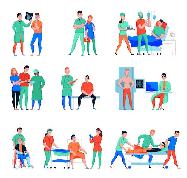 I caratteri piani pazienti di medico dell'infermiere dell'ospedale hanno messo con servizio di emergenza e laboratorio del raggio x isolato
