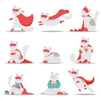 I caratteri svegli dell'animale domestico del fumetto di vettore del gatto del supereroe hanno messo isolato su fondo bianco.