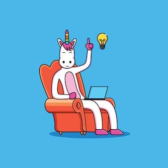 I cartoni animati degli unicorni hanno idee con una faccia divertente