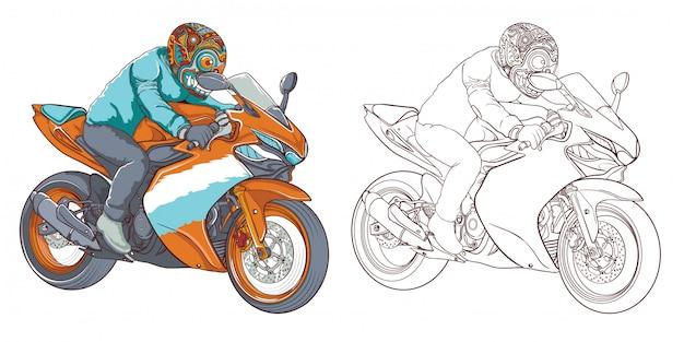 I ciclisti guidano sulle motociclette isolate su fondo bianco