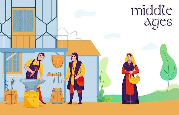 I cittadini comuni dello stabilimento di medio evo alla composizione piana nel lavoro con i contadini del fabbro del villaggio medievale sbarcano l'illustrazione di vettore degli operai