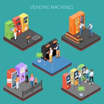 I clienti si avvicinano ai distributori automatici con l'illustrazione isometrica di vettore della composizione in servizi e delle merci
