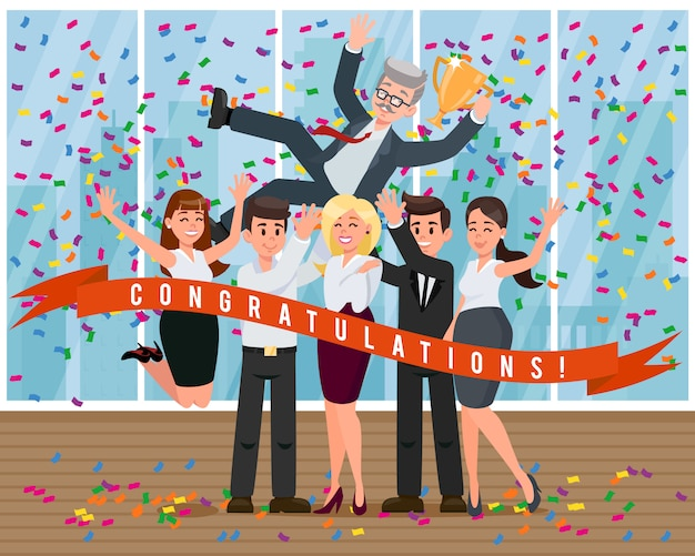 I colleghi dei cartoni animati si congratulano con il capo per il successo.