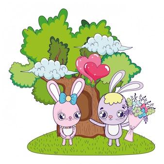 I conigli svegli si accoppiano con il giorno dei biglietti di s. valentino dei fiori