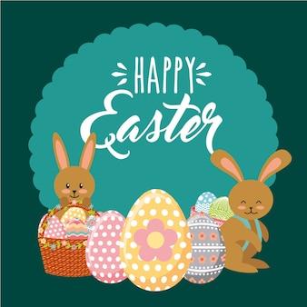 I coniglietti di bellezza con i canestri decorativi egg l'ornamento felice dell'etichetta di pasqua