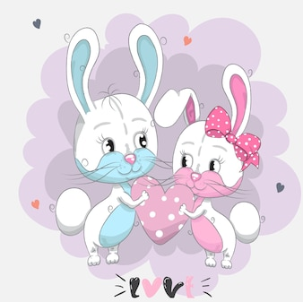 I coniglietti svegli del bambino abbracciano il disegno del fumetto del cuore