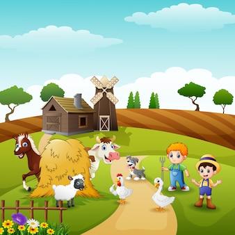 I contadini che tengono gli animali nella fattoria