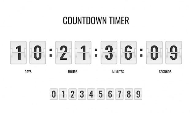 I contatori cronometri contano il giorno digitale giù guarda i minuti numerici che arrivano all'ora del punteggio
