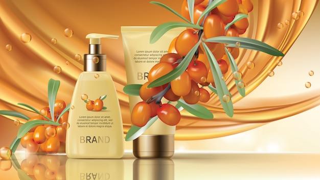 I cosmetici dell'olivello spinoso vector il manifesto realistico degli annunci.