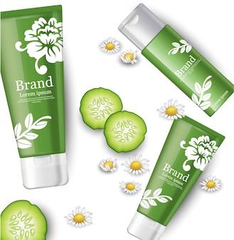 I cosmetici di cetriolo e camomilla preparano il packaging. design dell'etichetta di marca
