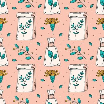 I cosmetici organici scarabocchiano la linea disegnata a mano modello senza cuciture di arte