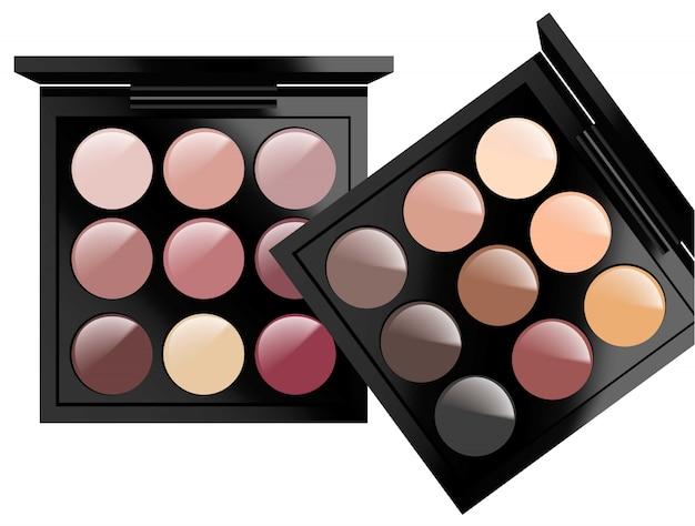 I cosmetici realistici hanno impostato su priorità bassa bianca. ombretti collezione nude pastel colors. confezioni cosmetiche, pubblicità, mock up