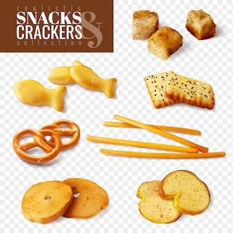 I cracker e gli spuntini di forme differenti sulle icone isolate fondo trasparente hanno messo l'illustrazione realistica