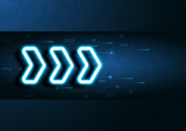 I dati al neon della velocità e della tecnologia della freccia caricano l'estratto con progettazione variopinta di vettore del fondo