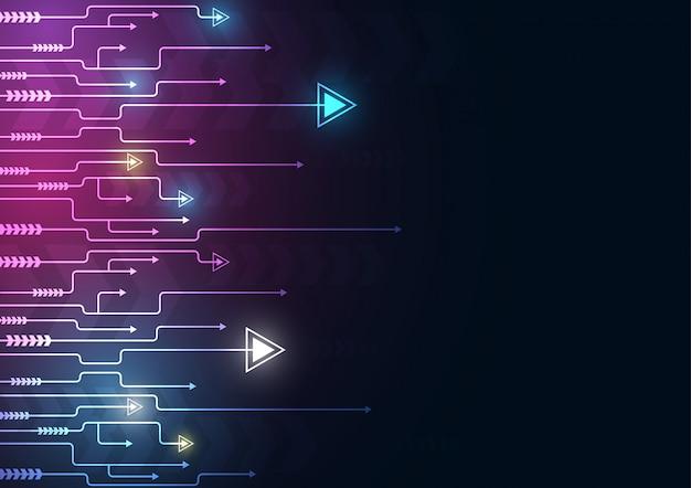 I dati della velocità e della tecnologia della freccia al neon caricano l'estratto con fondo variopinto