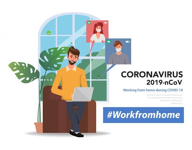 I dipendenti stanno lavorando da casa per evitare di diffondere il coronavirus. videoconferenza con il collega.