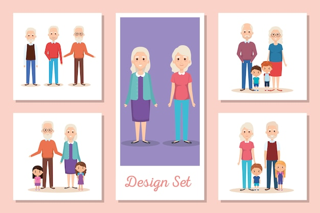 I disegni creano scene di nonni e nipoti