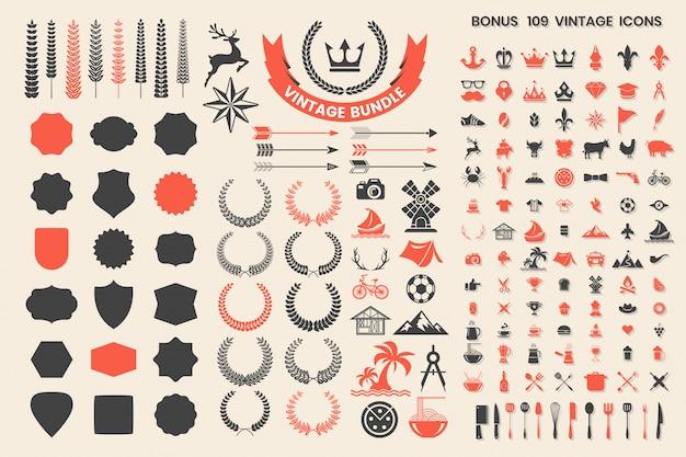 I distintivi, gli elementi e le icone di retro vettore d'annata hanno messo la raccolta