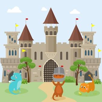 I draghi dei piccoli bambini giocano vicino ai castelli dei cavalieri medievali